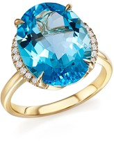 Bloomingdale's Blue Topaz Oval Ring with Diamonds in 14K Yellow Gold - 100% Exclusive