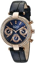 Burgi Women's BUR129BU Diamond & Crystal Accented Multifunction Rose Gold and Blue Leather Strap Watch