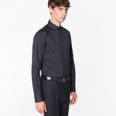 Paul Smith Men's Slim-Fit Navy Cotton Penny-Collar Shirt With 'Artist Stripe' Cuff Lining