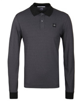 Cp Company Charcoal Marl Long Sleeved Polo Shirt