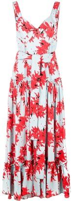 Proenza Schouler Splatter Floral Sleeveless Tiered Dress