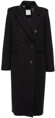 Sandro Double-breasted Wool-blend Twill Coat
