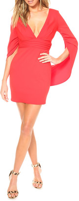 Katie May Move Over V-Neck Low-Back Shirred-Waist Mini Crepe Dress