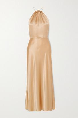 MATÉRIEL Silk-satin Halterneck Midi Dress - Gold