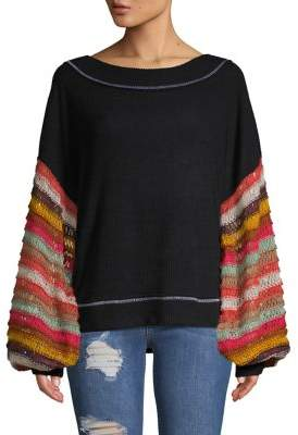 Free People Cha Cha Knit-Puff Sleeve Sweater