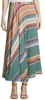 Neiman Marcus Bias-Cut Striped Cotton Maxi Skirt, Multi