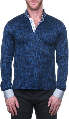 Maceoo Mozartnewton Blue Long Sleeve Button-Down Polo