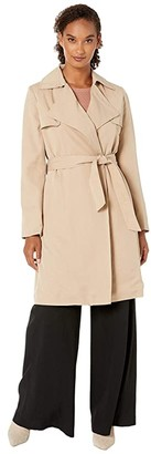 Lauren Ralph Lauren Drape Lapel Lyocell Wrap Jacket (Light Tan) Women's Clothing