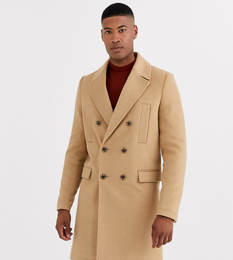 ASOS DESIGN Tall wool mix double breasted overcoat in camel