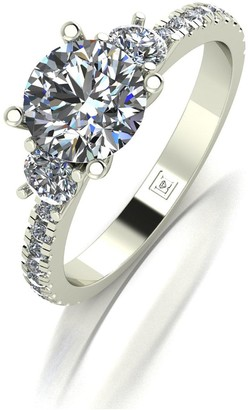 Moissanite Lady Lynsey 9Ct Gold 1.50Ct Total Round Brilliant Trilogy Ring With Stone Set Shoulders