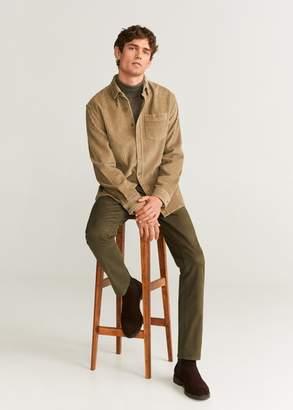 MANGO MAN - Regular fit corduroy overshirt beige - XS - Men