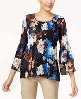 JM Collection Printed Pleated Blouse, Created for Macy's