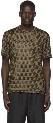 Fendi Black and Brown Forever All-Over T-Shirt