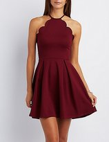 Charlotte Russe Scalloped Bib Neck Skater Dress
