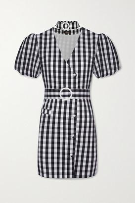 De La Vali Mila Belted Gingham Cotton-blend Mini Dress - Black