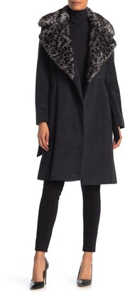 Via Spiga Wool Blend Faux Fur Leopard Collar Coat