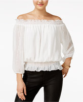 Amy Byer Juniors' Embroidered Off-The-Shoulder Peasant Top