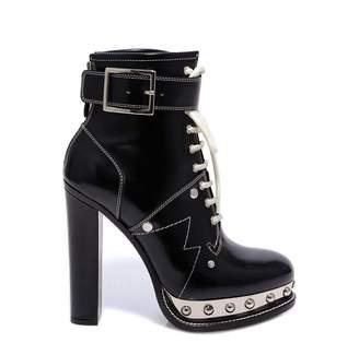 Alexander McQueen Studded Buckled Heel Ankle Boots