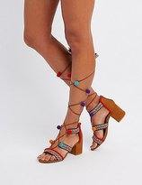 Charlotte Russe Bamboo Embroidered Pom Pom Sandals