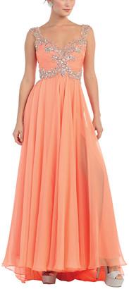 Royal Queen Women's Special Occasion Dresses Orange - Orange Sequin-Detail Side-Slit Gown - Women & Plus