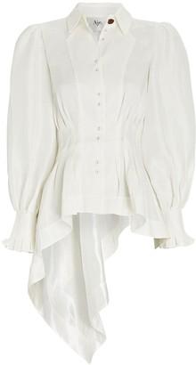 Aje Shadow Silk-Linen High-Low Shirt