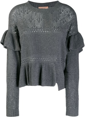 Twin-Set Ruffle Knitted Panel Jumper