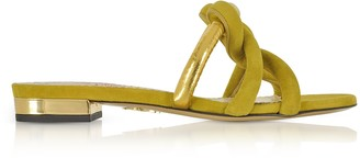 Charlotte Olympia Thalia Olive Green Suede and Gold Metallic Leather Slide Sandals