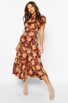 boohoo Rose Mixed Print High Neck Ruched Midaxi Dress