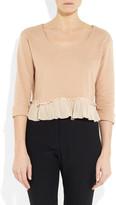 Miu Miu Silk-trimmed cotton-blend sweater