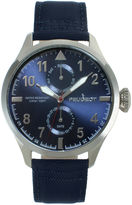 Peugeot Mens Blue Strap Aviator Watch 2044SBL