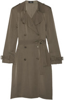 Theory Laurelwood Silk Crepe De Chine Trench Coat - Army green