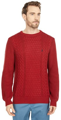 Nautica Classic Fit Cable Knit Sweater (Medium Grey Heather) Men's Clothing