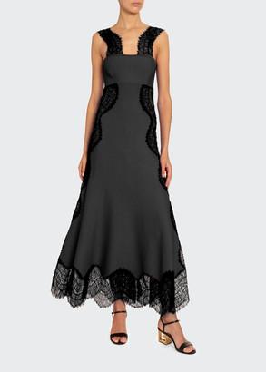 Givenchy Crepe Wavy-Lace Maxi Dress