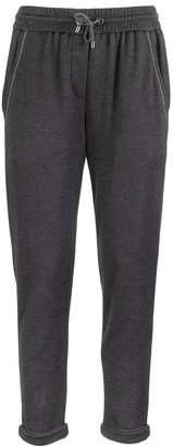 Brunello Cucinelli Stretch Cotton-Silk Trousers Navy