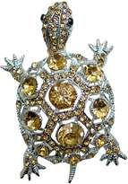 T&T Jewelry TTjewelry Vintage Tortoise Brooch Pin Brown Rhinestone Crystal Turtle Silver-tone