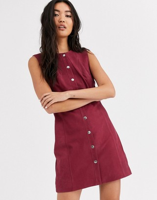And other stories & real leather suede dress with button detail-Red