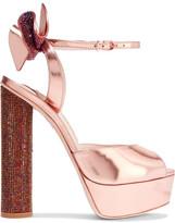 Sophia Webster Raye Bow-embellished Metallic Leather Platform Sandals - Pink