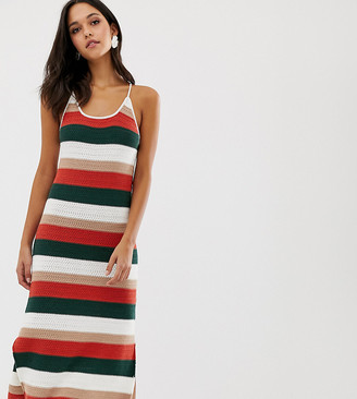 NATIVE YOUTH cami midi dress in crochet knit stripe