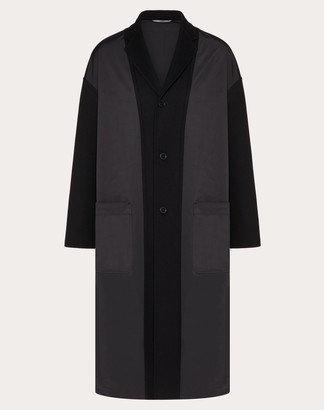 Valentino Coat In Double-layer Wool Man Black Polyester 100% 48