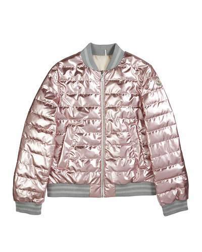 2e026ec52 Metallic Quilted Bomber Jacket, Size 8-14