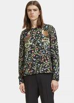 Gucci Men's Botanic Bird Print Round Neck Sweater In Black
