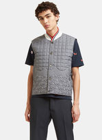 Thom Browne Men's Quilted Anchor Embroidered Gilet In Grey