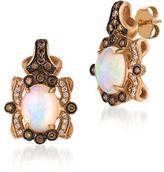 LeVian 0.37TCW Diamonds, Opal and 14K Rose Gold Pierced Earrings