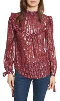 Veronica Beard Brooks Metallic Silk Blouse