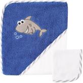 Luvable Friends Royal Blue Shark Hooded Towel & White Washcloth