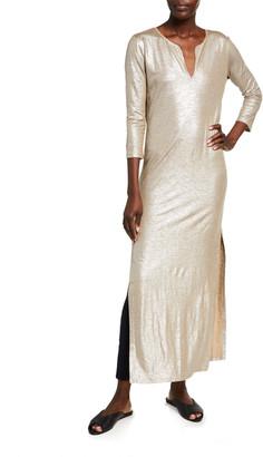 Majestic Filatures Metallic Stretch Linen Caftan Dress