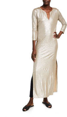 Majestic Filatures Metallic Stretch Linen Caftan Dress