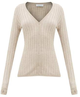 Gabriela Hearst Homer Jaipur Ribbed-knit Cashmere-blend Cardigan - Womens - Beige