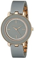 Anne Klein Women's AK/1972RGGY Swarovski Crystal-Accented Dial Grey Resin Bangle Watch