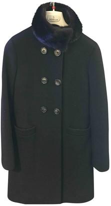 Moncler Long Black Wool Coat for Women